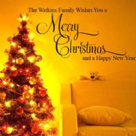 Personalised Merry Christmas Family  ~ Wall sticker / decals